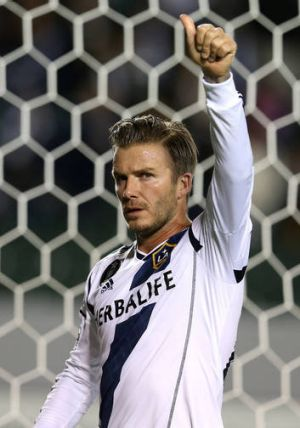 David Beckham playing for the  Los Angeles Galaxy.