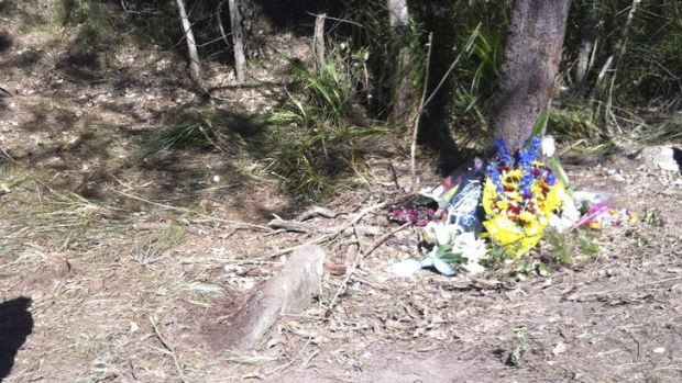 """""""Something has got to change"""" ... a floral tribute at the scene where Bayden and Shane died."""