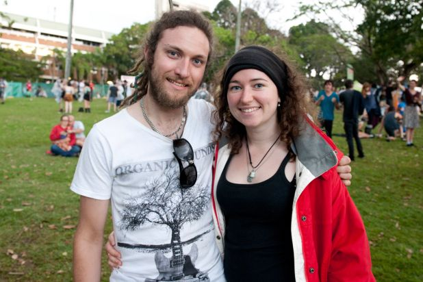 Ben Richards and Angharad Lodwick at the 2012 Harvest Festival held at the city Botanic Gardens in Brisbane.