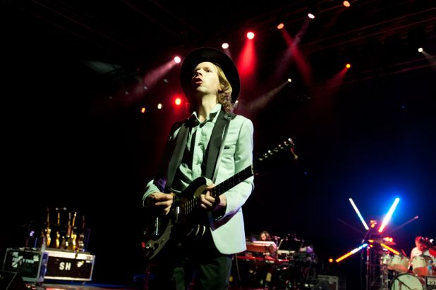 Beck performs at the 2012 Harvest Festival held at the city Botanic Gardens in Brisbane.