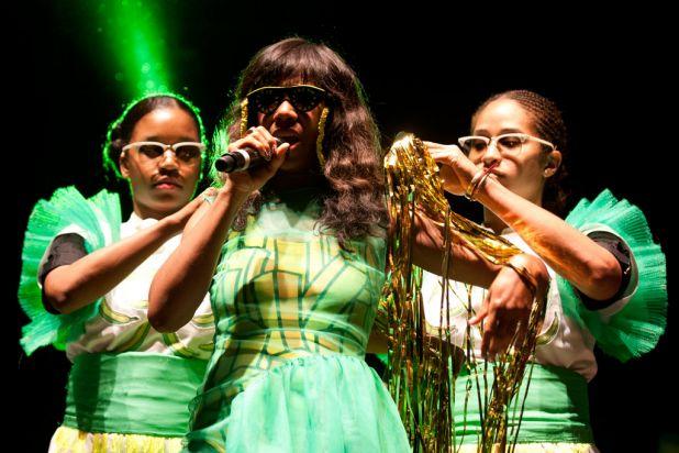 Santigold performs at the 2012 Harvest Festival held at the city Botanic Gardens in Brisbane.