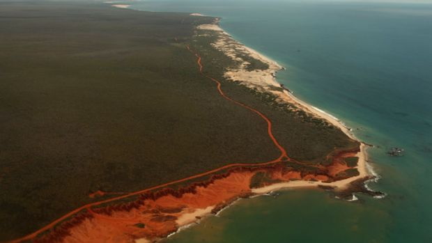The cliff line at James Price Point, 60 kilometres north of Broome, the site of the proposed gas project.