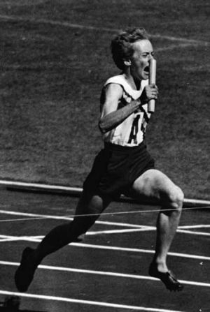 Betty Cuthbert winning women's 4 x 100 metres relay at the Melbourne Olympics in 1956.