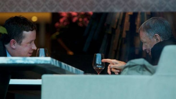 Qantas' Alan Joyce and predecessor, Geoff Dixon, share a drink in March.