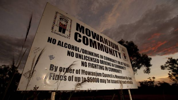 The sign banning alcohol from the Kimberley community of Mowanjum, south of Derby.