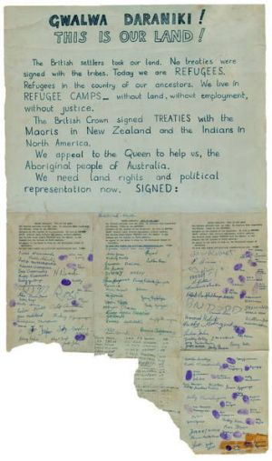 A petition the Larrakia people of the Northern Territory sent to the Queen in 1972.
