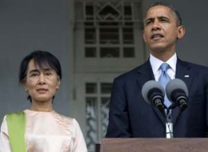 US President Barack Obama and Burma's pro-democracy leader Aung San Suu Kyi.