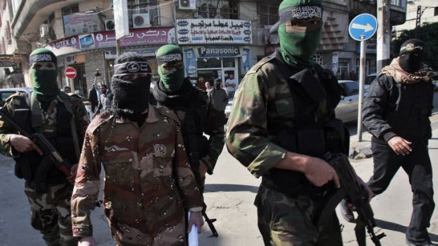 Trigger ... militants from the Al Nasser Salah al-Dine Brigades after claiming responsibility for attacking an Israeli ...