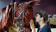 Cody Fern, who plays Albert with Joey the horse during rehearsals at ABC studios in Ultimo.  Joey the horse is ...