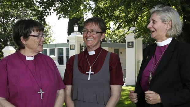 Anglican Bishops Barbara Darling from Melbourne, Genieve Blackwell from Wagga Wagga and Kay Goldsworthy from Perth ...