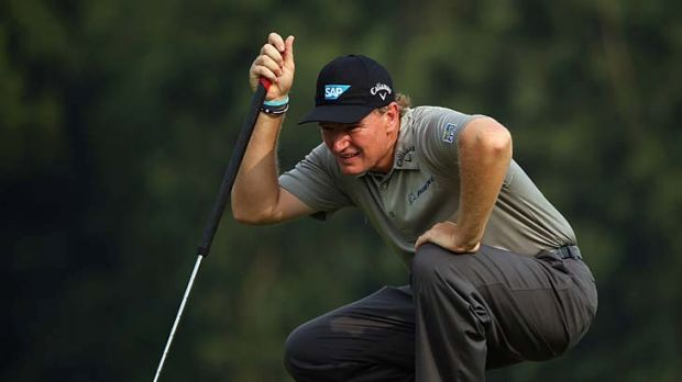 Long one: Ernie Els eyes his putt at a tournament in China early this month.