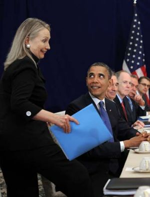 ''I'm not late am I?'' … Hillary Clinton arrives last for a meeting between Barack Obama and the Japanese Prime ...