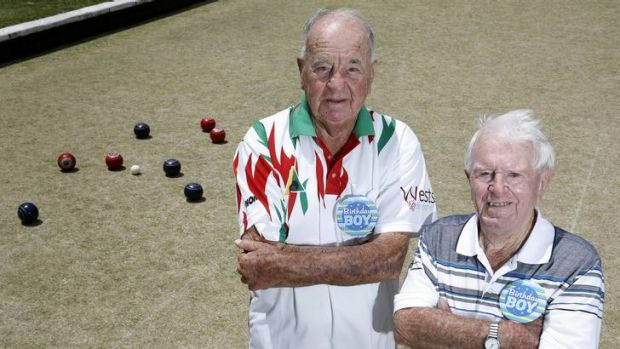 Lawn bowlers Manny Rees and Vic Bliss both celebrated their 90th birthdays together at the Canberra North Bowls Club.