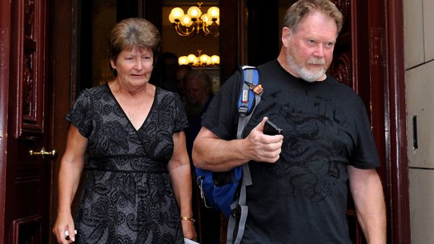Peter Rule's siblings, Stella McNaughton and Mark Rule, outside the Melbourne Supreme Court in April.