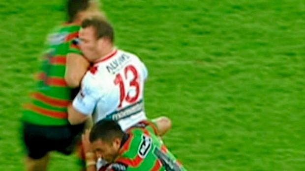 Greg Inglis's hit on Dean Young which knocked out the Dragons forward.. The Rabbitohs fullback was banned for three matches.