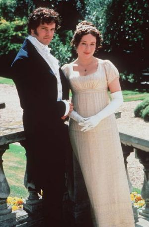 COLIN FIRTH AS MR DARCY AND JENNIFER EHLE AS MISS ELIZABETH BENNETT IN PRIDE AND PREJUDICE.