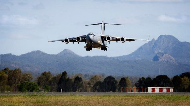 Four huge C-17A Globemasters will do a flypast over Brisbane.