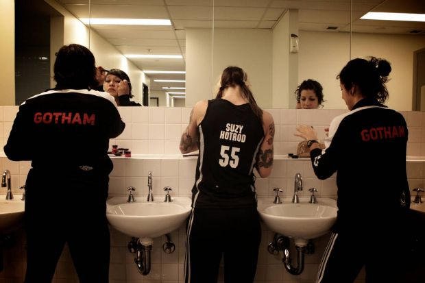 Extreme Roller derby Gotham Girls getting prepped.