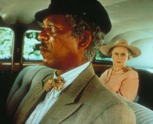 A scene from his Oscar-winning film <i>Driving Miss Daisy</i>, with Morgan Freeman and Jessica Tandy.