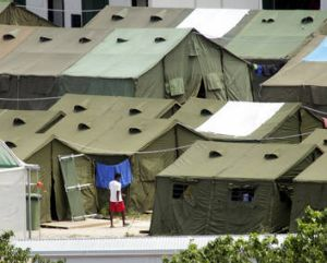Temporary tents at the detention centre, which is housing 387 people.