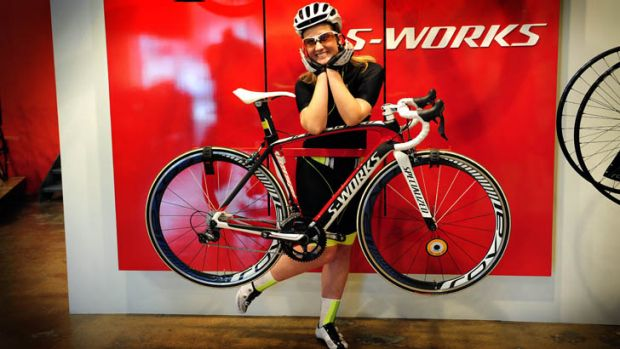 Road ready ... novice cyclist Jenna Clarke is all kitted out and co-ordinated in cycle gear (even the bike is colour ...