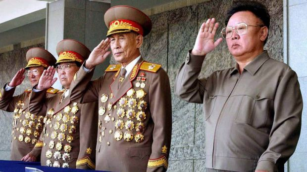 Alleged insult ... the late North Korean leader Kim Jong-Il, right.