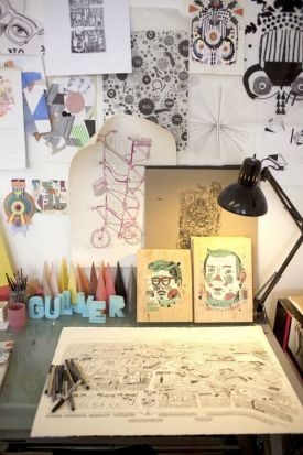 His studio of sketches.