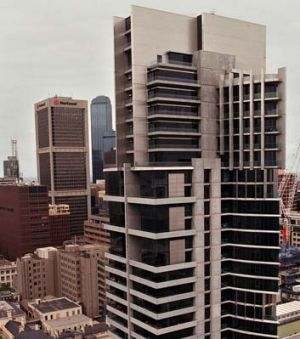 Republic Tower, corner LaTrobe and Queen streets. Completed 1999. Cost: $38 million.  Height: 122 metres.
