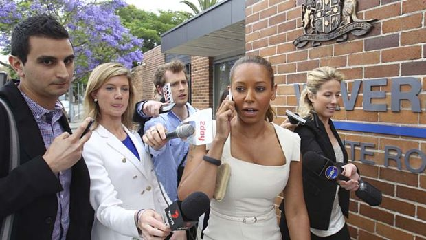 Brief appearance ... X Factor judge and former Spice Girl Mel B leaves Waverley Local Court after a hearing over an ...