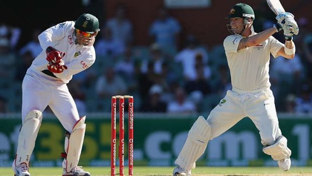 Ruthless … Michael Clarke on his way to an unbeaten 224 at the Adelaide Oval.