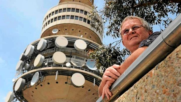 At the base of Black Mountain Tower, former steel rigger, 67-year-old Dave Cavill of Gilmore, helped build many of ...