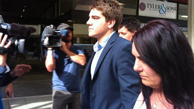 Dylan Winter leaves court after being found not guilty of the charge of having caused grievous bodily harm to former ...