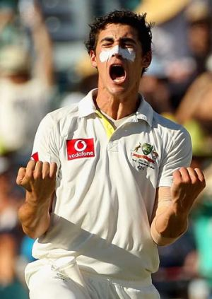 Indian summer ... Mitchell Starc takes the wicket of Sachin Tendulkar at WACA in January.