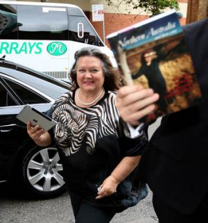 Gina Rinehart arrives at Sydney's Four Seasons Hotel for the book launch.