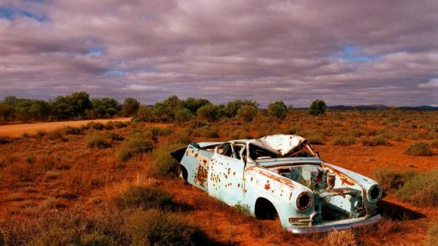 Abandoned: a car wreck in the outback.