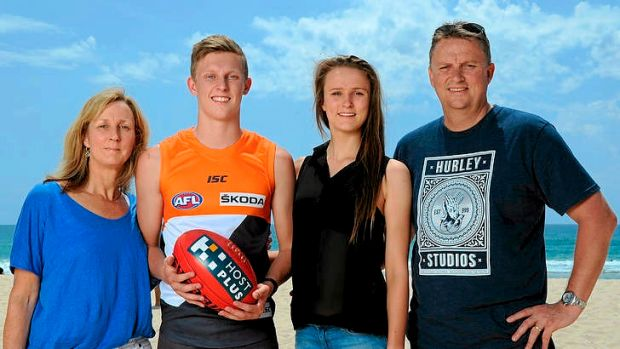 AFL No 1 draft pick Lachie Whitfield with his mother Maryanne, father Richard and sister Emma.