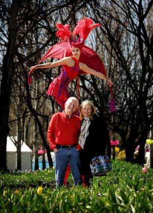Bryce Courtenay and wife Christine Gee at Floriade earlier this year.