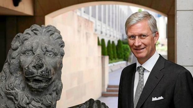 Belgium's Prince Philippe stands next to the Menin Gate Lions during a visit to the Australian War Memorial.