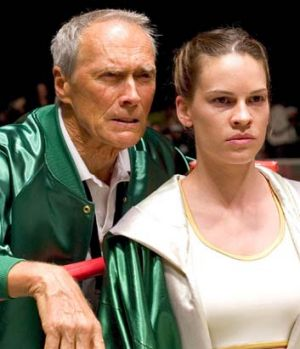 Clint Eastwood and Hilkary Swank in <em>Million Dollar Baby</em>.