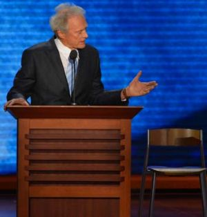 Clint Eastwood talking to the chair at the Republican National Convention.