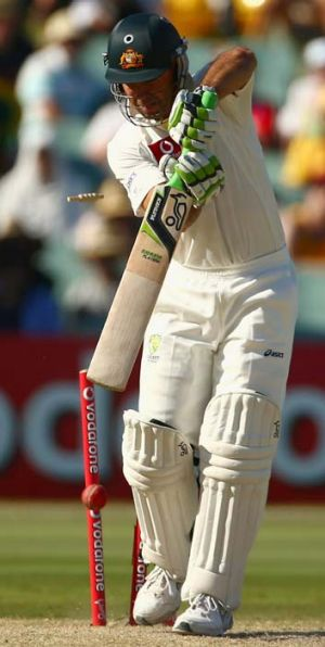 Death rattle … Ponting is bowled by Dale Steyn.
