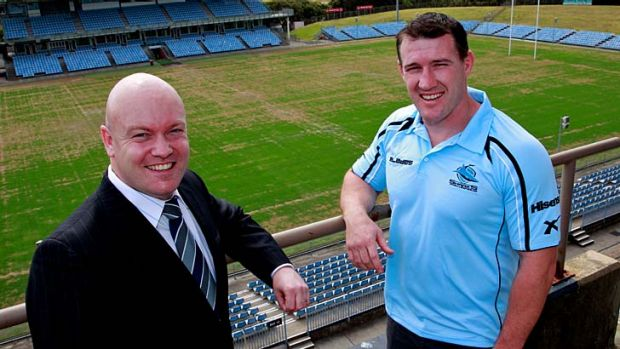 Tested ... the chairman of the Cronulla Sharks, Damian Irvine, and captain Paul Gallen are relieved the club has managed ...