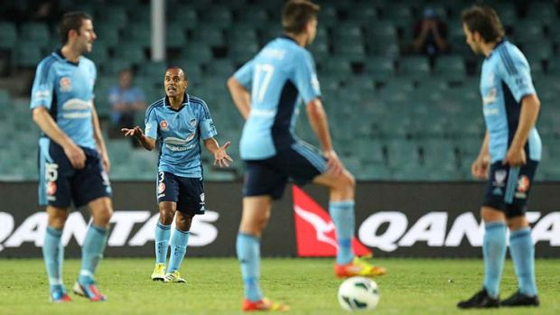 Communication breakdown … Sydney's Brazilian defender Fabio vents his frustration during the Sky Blues' 2-1 loss ...