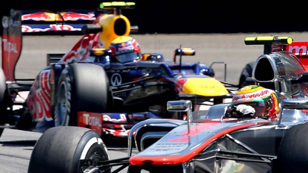 Finale: Lewis Hamilton ahead of Mark Webber in practice at the Brazilian Grand Prix.
