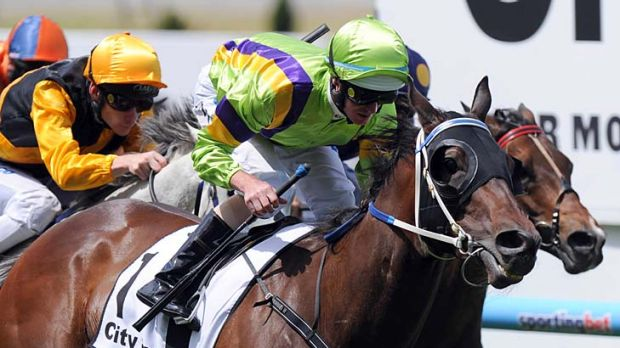 Too good: David Moodie's mare Kulgrinda, ridden by Luke Nolen, surges to victory at Mooney Valley on Saturday.