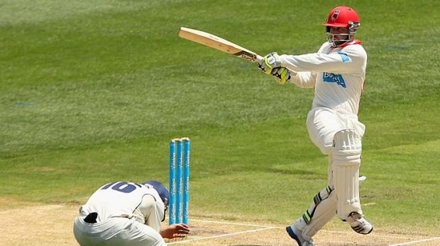 Duck: Phillip Hughes in full flight in an innings that opens up Test considerations.