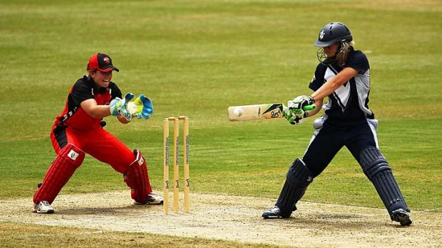 On song: Elyse Villani in the swing against South Australia.