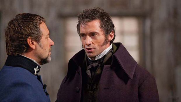 Hugh Jackman with Russell Crowe in <i>Les Miserables</i>.