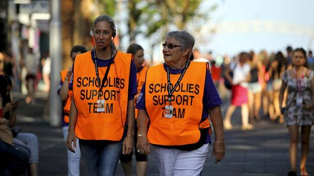 On hand ... Schoolies Support Team volunteers Christine Harding and Jeannie Ward at Surfers Paradise.