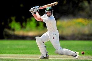Weston Creek batsman Max Miller plays a shot.